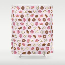 ALL the donuts! Rainbow on Pink Shower Curtain