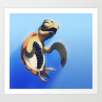 turtle Art Prints featuring Turtle by Anya McNaughton