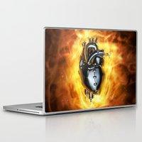heavy metal Laptop & iPad Skins featuring Heavy metal heart by GrandeDuc