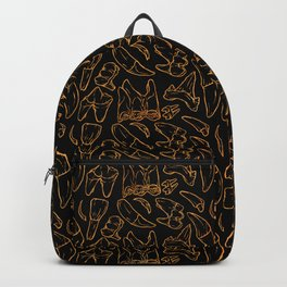 Traces - Teeth - Gold Line (Black) Backpack