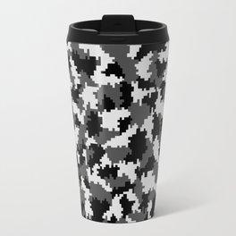Camouflage Digital Black and White Travel Mug