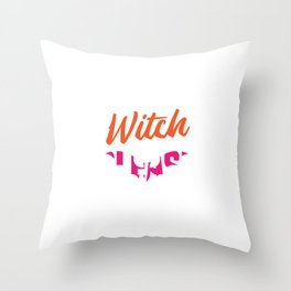 """Pink Silhouette Of A Bat Flying Witch With It's Stick Broom """"Witch Please"""" T-shirt Design Creepy Throw Pillow"""