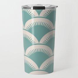 Japanese Fan Pattern Foam Green and Beige Travel Mug