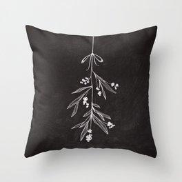 Chalkboard Art - Mistletoe Throw Pillow
