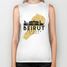 BEIRUT LEBANON SILHOUETTE SKYLINE MAP ART Biker Tank