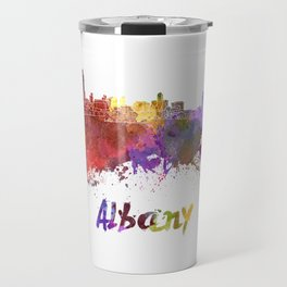 Albany skyline in watercolor Travel Mug