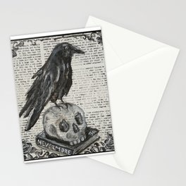 library raven on skull and nevermore book with floral black and white writing Stationery Cards
