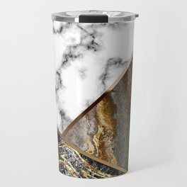 Elegant Silver Gray and Black Marble with Bronze Lining Travel Mug
