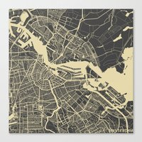 amsterdam Canvas Prints featuring Amsterdam by Map Map Maps