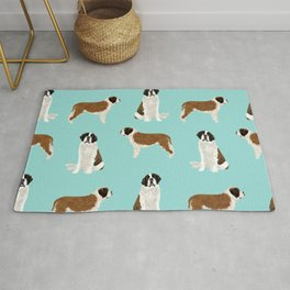 Saint Bernard dog breed pet portrait pure breed unique dogs gifts Rug
