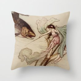 Vintage illustration with a fish and a water nymph Throw Pillow