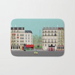 Paris Street Scene Art Print - Daytime Bath Mat