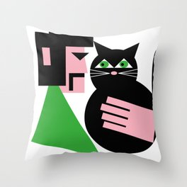 CAT WITH HIS LAD Throw Pillow