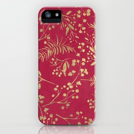 Modern magenta pink faux gold tropical floral iPhone Case