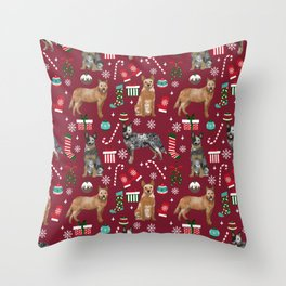 Austrian Cattle Dog red and blue merle christmas presents holiday dog breed pattern pet friendly Throw Pillow