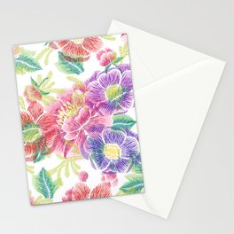 Colorful lowers Collage Pattern Stationery Cards