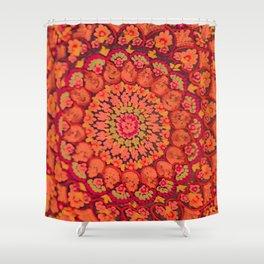 Mandala on copper plate 2 Shower Curtain