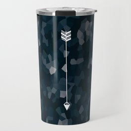 Blue Geometric Polygon White Single Arrow Travel Mug