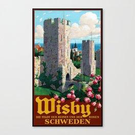Visby Schweden Travel Poster Canvas Print