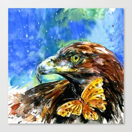 Golden Eagle And Butterfly by Kathy Morton Stanion Canvas Print