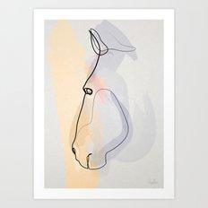 One line Horse 1711 c Art Print