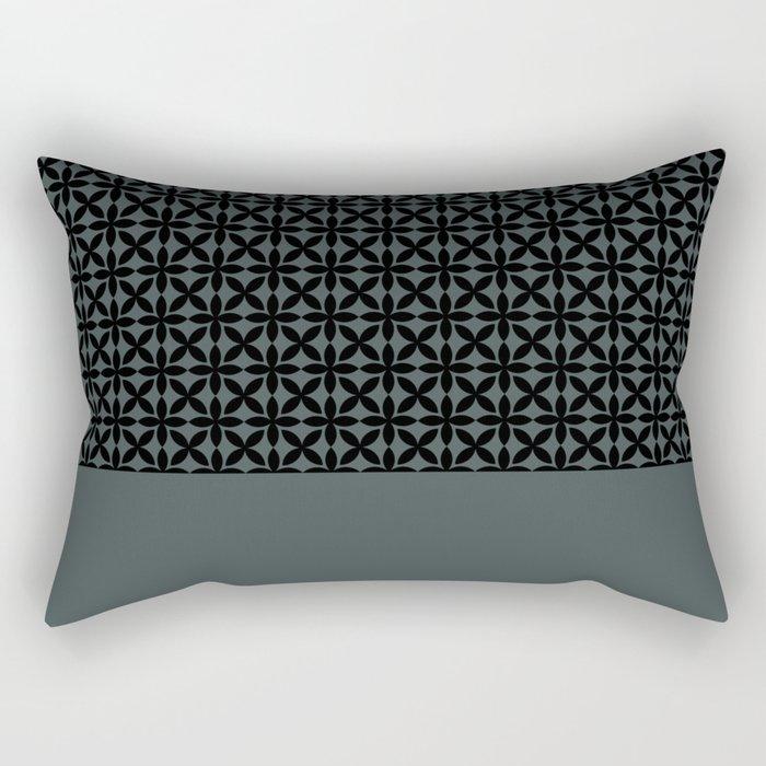 Black Square Petal Pattern on PPG Night Watch Pewter Green Rectangular Pillow