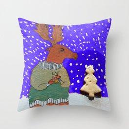 Moose with Tea Throw Pillow