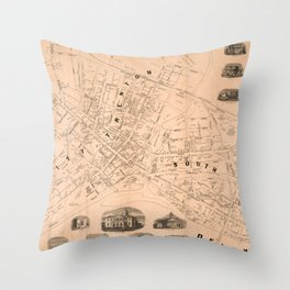 Vintage Map of Trenton NJ (1849) Throw Pillow
