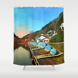Pontoon landing stages in the harbour | waterscape photography Shower Curtain
