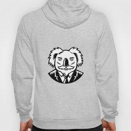 Koala With Moustache Woodcut Black and White Hoody
