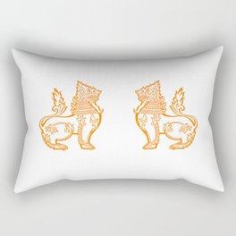 Orange Burmese Lion Rectangular Pillow