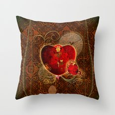 Wonderful steampunk heart Throw Pillow
