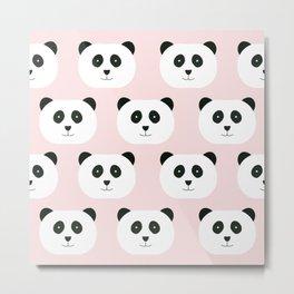 Panda Love -Pink Metal Print