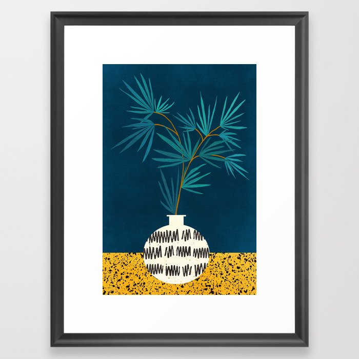 Night Palm Blues Framed Art Print