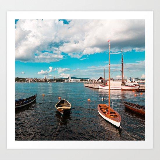 Oslo Boats Art Print
