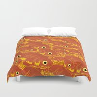 goldfish Duvet Covers featuring Goldfish by Monty