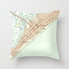 Vintage Map of Wildwood NJ (1955) Throw Pillow