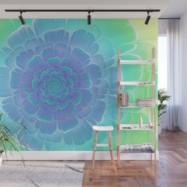 Romantic blue and green flower, digital abstracts Wall Mural