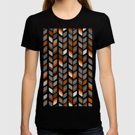 Modern Rectangle Print with Retro Abstract Leaf Pattern T-shirt