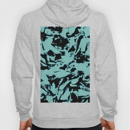 Turquoise Black Abstract Military Camouflage Hoody