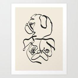 Abstract line pug Art Print