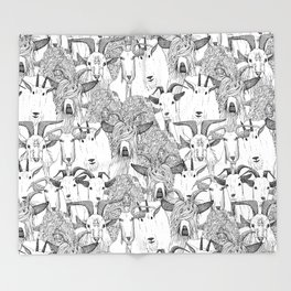 just goats black white Throw Blanket