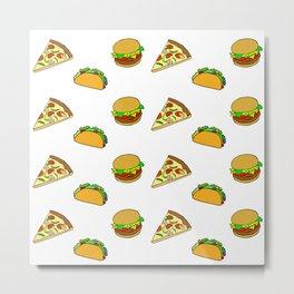 Pizza Taco Burger Pattern Metal Print