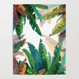 Waterclor round Leaves Poster