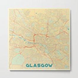 Glasgow Map Retro Metal Print