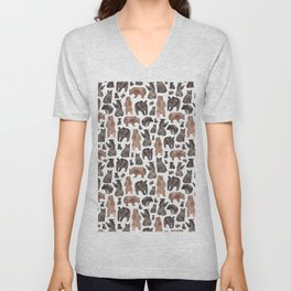 Woodland Bear Pattern Unisex V-Neck