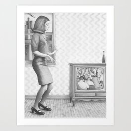 Girl with TV Art Print