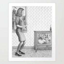 Girl with TV Art Print
