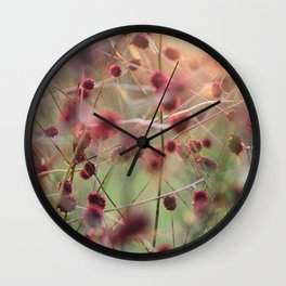 Grass with red flowers touched by the evening sun Wall Clock