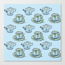 Blue Tea Set Canvas Print